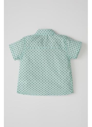DeFacto Erkek Bebek Desenli Kısa Kol Gömlek Yeşil